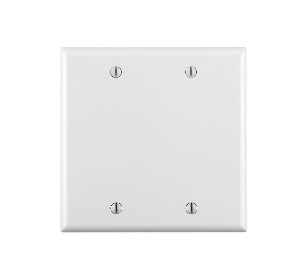 Leviton 88025 001-000 2-Blank Standard Size Wall Plate, 2 Gang, 4.5 in L X 4.56 in W 0.22 in T, Smooth, Standard White