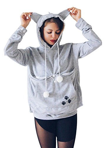 Kingdilor Women's Ear Big Kangaroo Pouch Hoodie Long Sleeve Pet Cat Dog Holder Carrier Casual Sweatshirt S-4XL (2XL, Gray)