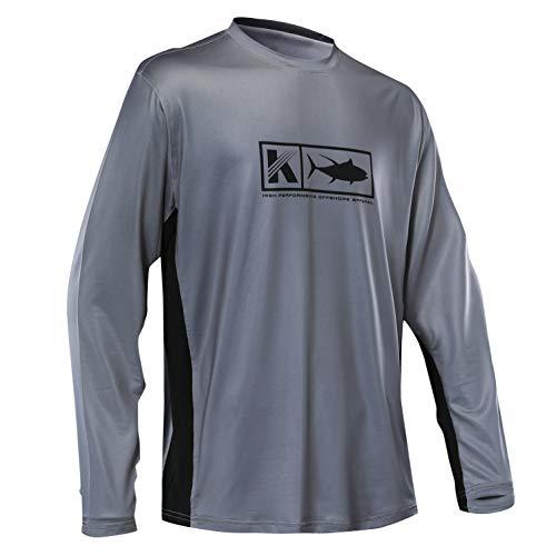 Men's Performance Vented Fishing Shirt Long Sleeve Shirt Mesh Side Vents UPF 50 Dye Sublimation Print Charcoal