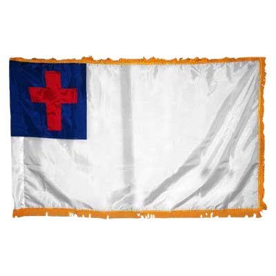Valley Forge Flag Perma-Nyl 5'x8' Nylon Indoor Christian Flag With A Pole Hem And Gold Fringe by Valley Forge