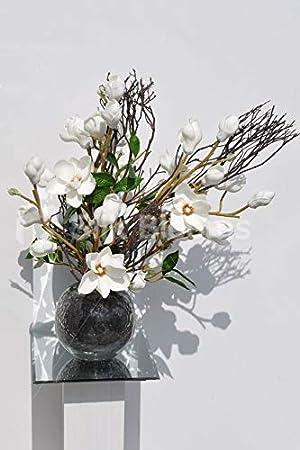 Silk Blooms Ltd - Expositor de Flores Artificiales, Color Blanco Brillante y Madera Real con Hojas Verdes y Pesado pecera Gris: Amazon.es: Hogar