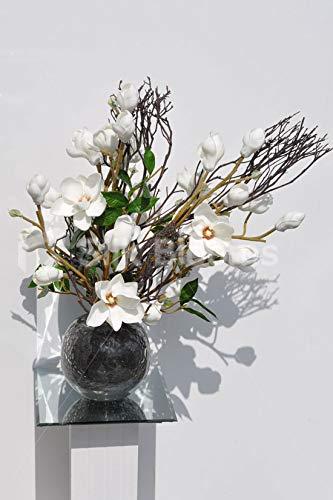 Silk Blooms Ltd - Expositor de Flores Artificiales, Color Blanco Brillante y Madera Real con