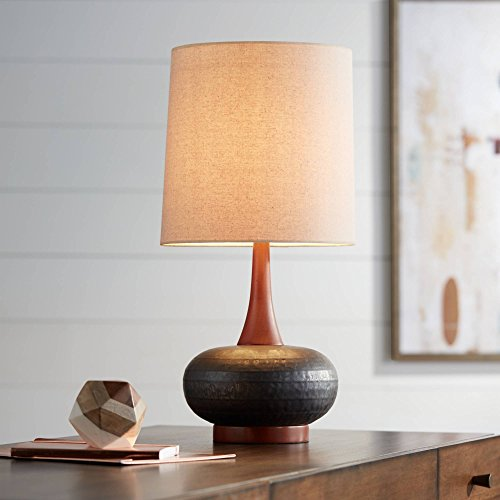 Andi Mid Century Modern Table Lamp Hammered Bronze Ceramic Wood Off White Tall Drum Shade for Living Room Family Bedroom – 360 Lighting