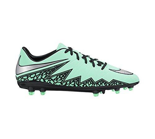 Nike Mens Hypervenom Phelon II Fg Soccer Cleat (12, Green Glow/Hyper Orange/Metallic  Silver)
