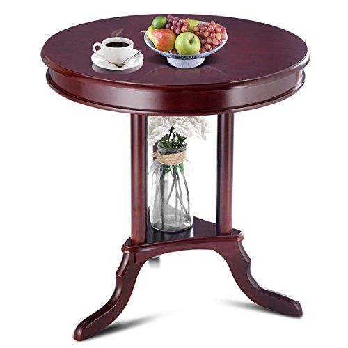 Giantex Round Accent Table End Table Side Table Home Furnishing Accent Table w/Shelf Slanted Legs