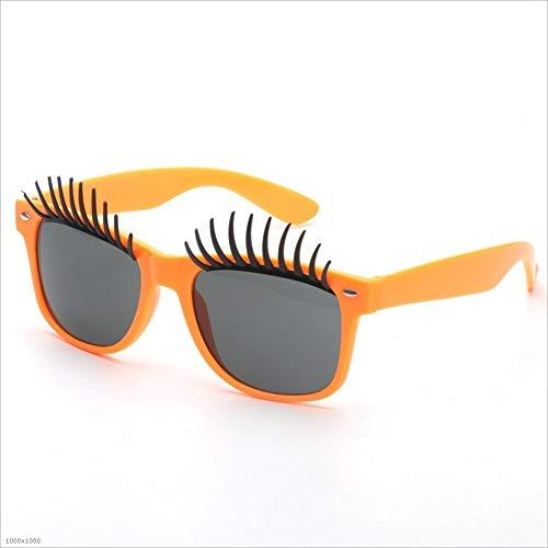 Yiwuhu Beach Vacation Driving Orange Classique Couleur Frame de Soleil Big Cils de Orange Adultes pêche Eyes Fanci Lunettes Party rz41xrq