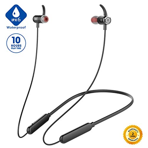 Junesh [2019 Newest] Bluetooth Headphones, Premium 10hrs Bluetooth Earphones, Neckband Headphones with Mic,IPX6 Waterproof Wireless Earbuds Sport,HiFi Bass Magnetic Earbuds for Running Workout Gym