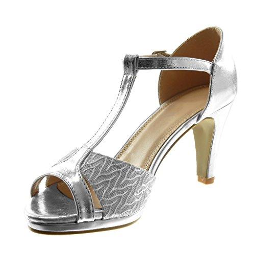Femme Talon Argent Salomés Mode Haut 8 Brillant cm Escarpin Angkorly Aiguille Stiletto Peep Toe Sandale 5 Chaussure Dentelle P8gxwcpq