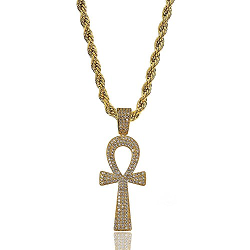 "TOPGRILLZ 14K Gold Plated Iced Out Egyptian Religious Ankh Pendant Necklace with 24"" Rope Chain for Men"
