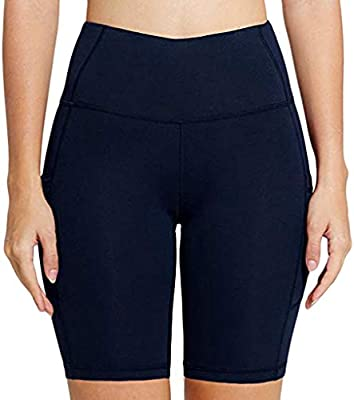 Solid Fold Over Waist Cotton Athletic Shorts Good for Exercise Stretch S M L