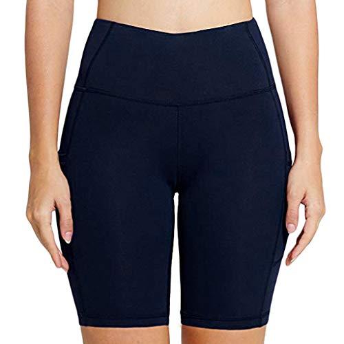 Landscap Women's Pure Pocket High Waist Hip Stretch Running Five Points Yoga Pants(Blue,S)