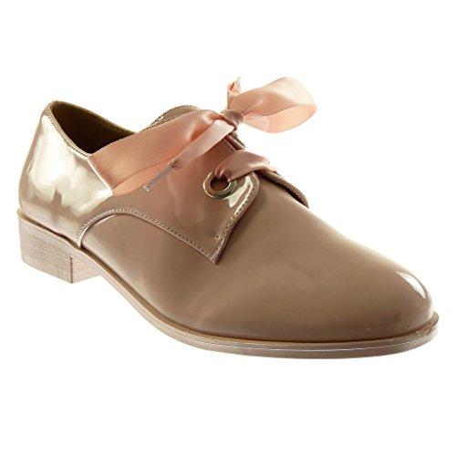 Patentes Zapatillas Saten Codones 5 Zapato Mujer Moda Tacón cm 2 Derby Rosa de Angkorly Ancho SnH8gfdg