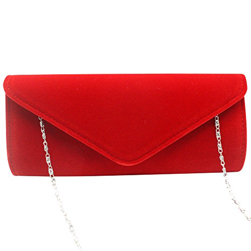 Wedding Bag Velvet Clutch Strap Purse Evening Red Chain Shoulder Women Wocharm Purse nYCwzqH86