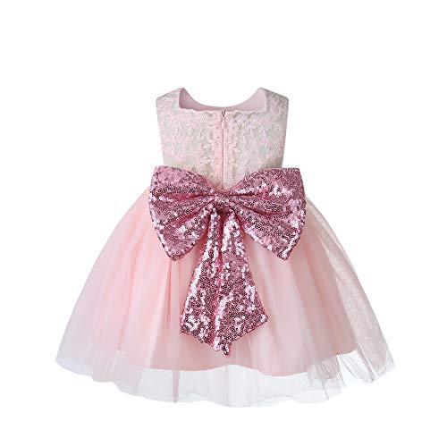 - Newborn 3M Rose Sequin lace Flower Peach Baby Girl Dresses Elegant Princess Prom Bridesmaid Kids Dresses Pink 0-3 Months