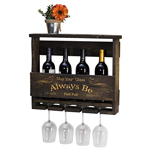 Half Wine Rack - Del Hutson Designs Del Luxe Top Shelf Laser Engraved Wine Rack May Your Glass Always Be Half Full (Dark Walnut)