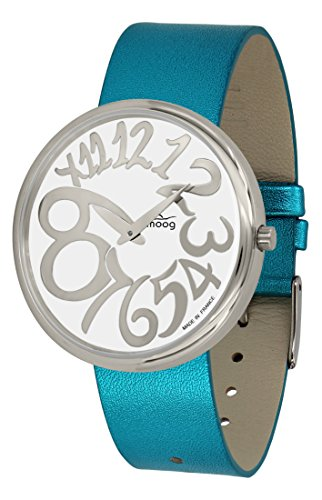 Moog Paris Ronde Art-Deco Women's Watch with White Dial, Blue Strap in Genuine Leather - M41671-E16