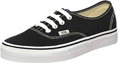 Vans Unisex Authentic Solid Canvas Skateboard Sneakers (44 M EU / 10.5 D(M) US, Black / White)