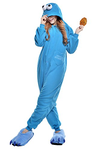 NEWCOSPLAY Halloween Adult Pajamas Sleepwear Animal Cosplay Costume (M, Blue Street)]()