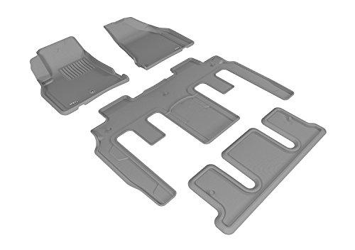 (3D MAXpider Complete Set Custom Fit All-Weather Floor Mat for Select GMC Acadia/ Acadia Denali/ Acadia Limited Models - Kagu Rubber (Gray))