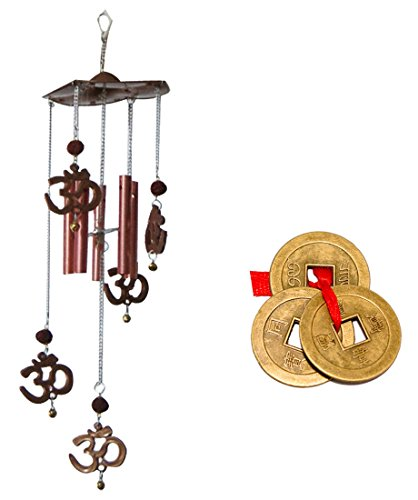 (Divya Mantra Combo of Om Rudraksh Wind Chime and Feng Shui Chinese Coins)