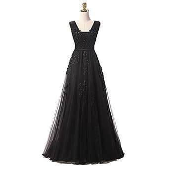 Amazon.com: Nicefashion V Neck Elegant Long Lace Evening