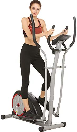 Fast88 Portable Elliptical Machine Fitness Workout Cardio Training Machine, Magnetic Control Mute Elliptical Trainer with LCD Monitor, Elliptical Machine Trainer