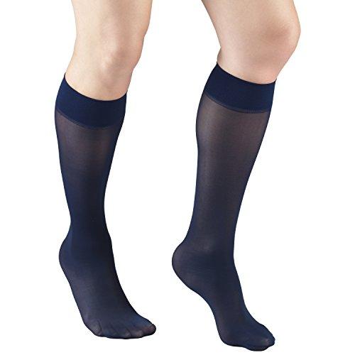 Truform Sheer Compression Stockings, 8-15 mmHg, Women's Knee High Length, 20 Denier, Navy, Medium