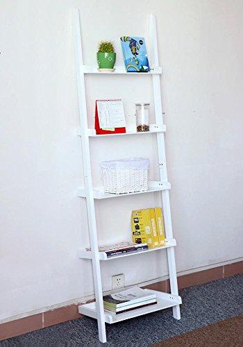 go2buy Modern White Wood 5 Tier Leaning Ladder Shelf Bookcase Bookshelf 70  Inch Book DVD CD Display Storage Shelves Unit