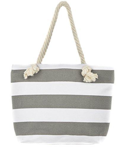 Horse Tote Bag - Leisureland Canvas Tote Beach Bag, Rope Handle Water Resistant Shoulder Bag (Stripe Grey)