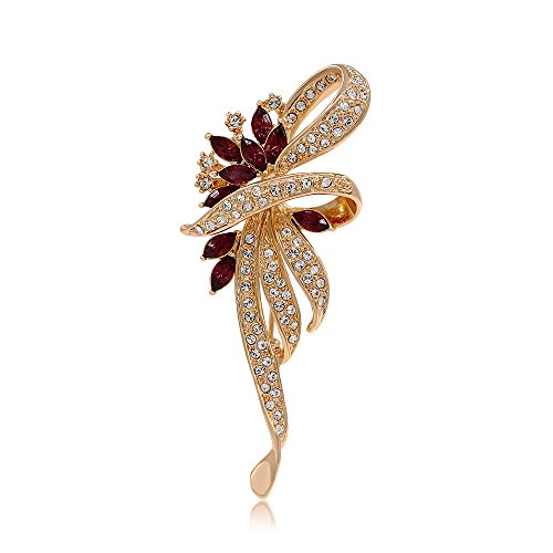 Kemstone Amethyst Crystal Flower Brooch Pin Gold Plated Women's Jewelry ()