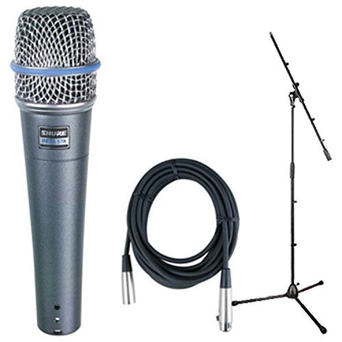 Shure Beta 57A Dynamic Vocal/Instrument Microphone w/1 FREE Mic Cable and 1Boom Stand by Shure
