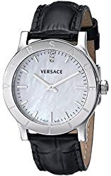 """Versace Women's VQA010000 """"Acron"""" Diamond-Accented Stainless Steel Watch with Black Leather Band"""