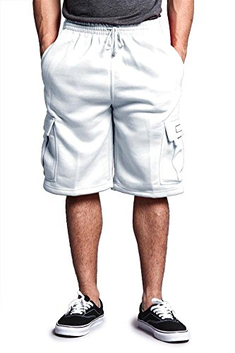 Victorious Men's Solid Fleece Cargo Shorts DFP1 - White - 3X-Large