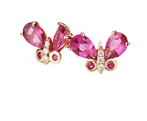 Epinki 18K Gold Earrings for Women Girls Butterfly Earrings Pink Tourmaline Rose Gold by Epinki