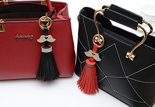 ATTOUPAN Décoration Sac Porte Noir Cuir pour PU clés Tassel Femme Strass clés Moustache Charms Porte rqOCrw