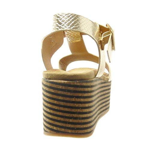 Angkorly - Zapatillas de Moda Sandalias Mules correa zapatillas de plataforma mujer corcho líneas tanga Talón Plataforma 7 CM - Oro