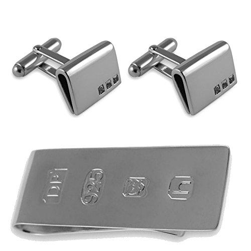 Money Bond Set James cufflinks silver Sterling cubic Clip zirconia Box curved vw0vgqT