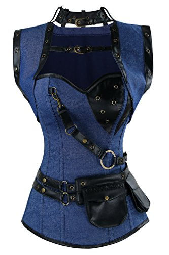 Charmian Women's Spiral Steel Boned Steampunk Gothic Vintage Denim Corset with Jacket and Belt Blue X-Large (Patent Lace Up Bustier)