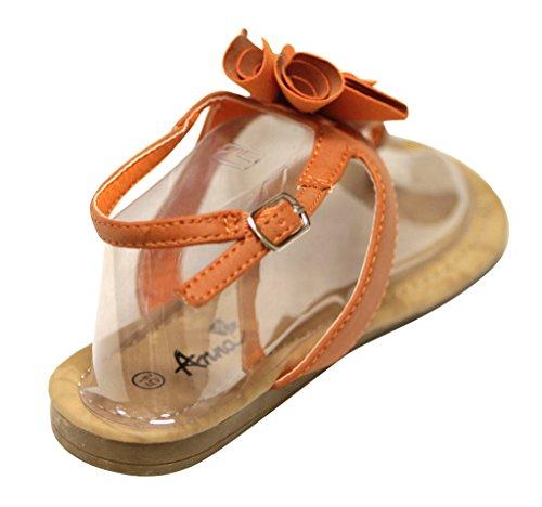 Anna Jeffery-11 Mujeres T-strap Beads Flor Correa De Tobillo Ajustable Sandalias Planas Naranja