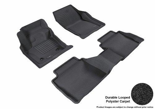 3D MAXpider Complete Set Custom Fit Floor Mat for Select Ford Fusion Models – Classic Carpet (Black)
