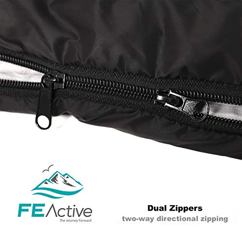 FE Active - Saco de Dormir Individual Resistente al Agua, Extremadamente Liviano para Actividades al Aire Libre, Camping, Mochilero, Senderismo, ...