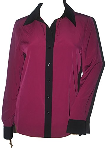 Ellen Tracy Women's Blouse with Black Detail in Teal or Magenta (12, Magenta)