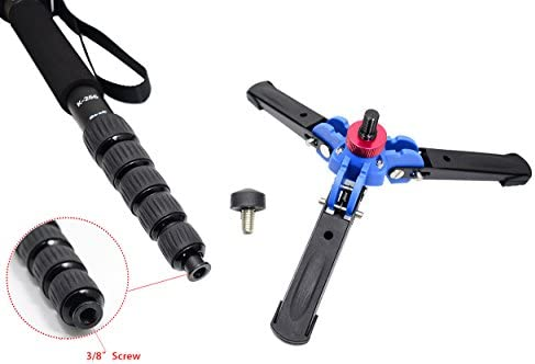 Leg max diameter: /Φ28MM K-266 Black 6-section Leg . Folding length: 420mm Koolehaoda Lightweight Portable 63-inches Camera Aluminium Monopod with Folding Three Feet Support Stand 16.5