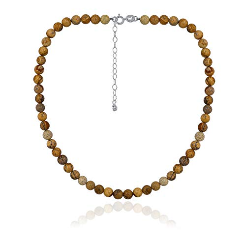 Sea of Ice Jasper 6mm Round Beads Necklace 14
