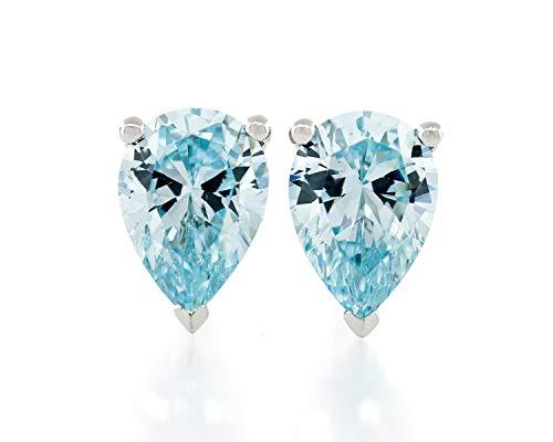 Acacia Jewelry 1.50 Carat (ctw) Pear Shape Fancy Diamond Cut Aquamarine Color 7x5mm Crystal CZ 925 Sterling Silver Heavy Mounting Stud Earrings Rhodium Plated
