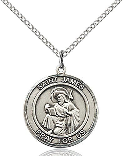 - Sterling Silver Round Catholic Saint James the Greater Medal Pendant, 3/4 Inch