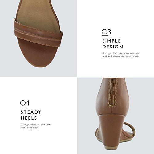 Dailyshoes Kvinners Sommer Fashion Design Ankelen Stropp Spenne Lav Kile Plattform Hæl Sandaler Sko Brun Pu
