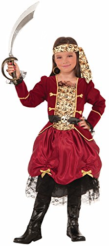 Forum Novelties Girls Pirateer Costume, Red, Medium (Red Skull Costume)