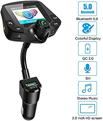 Amazon.com: Transmisor FM Bluetooth para coche, 5.0 ...
