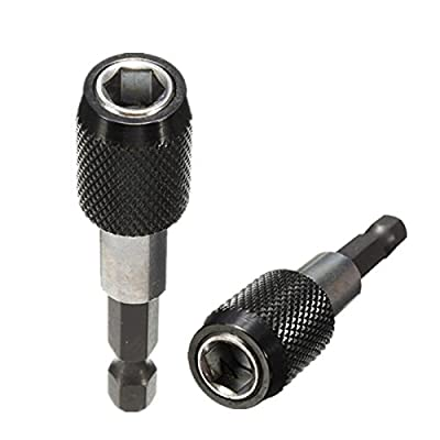 "Yosoo Pack of 2 - 1/4"" Impact Drive Shank Quick Change Holder Hex Bit Drill Chuck Adapter Magnetic"